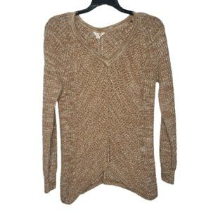 G BY GUESS tan knit v-neck pullover sweater small